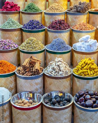 Colorful piles of spices in Dubai souks, United Arab Emirates