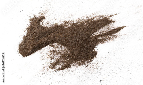 Fotobehang Kruiderij Ground black pepper powder isolated on white background, top view
