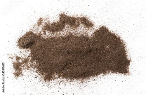 Tuinposter Kruiderij Ground black pepper powder isolated on white background, top view