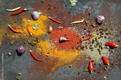Staande foto Kruiderij various spices