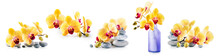 Yellow Orchid Flowers And Spa Stones Set