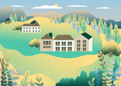 Wall Murals Green coral Rural valley view Farm countryside. Village landscape with ranch in flat style design. Landscape with detached house farm one family house, barn, building, tree, background cartoon vector illustration