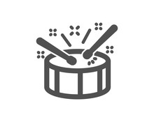 Drums With Drumsticks Icon. Music Sign. Musical Instrument Symbol. Quality Design Element. Classic Style Icon. Vector