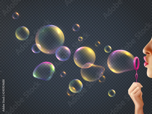 Canvas-taulu Girl Blowing Soap Bubbles