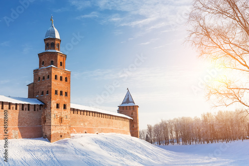 Deurstickers Asia land Winter landscape view of Novgorod the Great in Russia