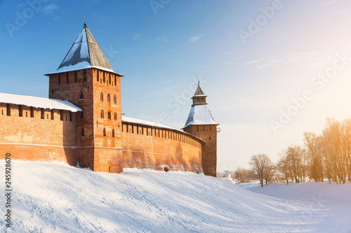 Deurstickers Asia land Novgorod Kremlin in cold snowy day in Veliky Novgorod