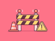 Under Construction Concept. Construction Barrier, Warning Sign And Traffic Cone Vector Illustration In Mono Line Art Style