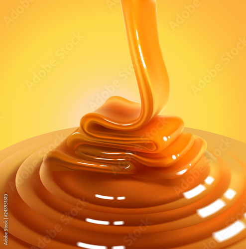Pinturas sobre lienzo  Flowing stream of golden caramel on a yellow background