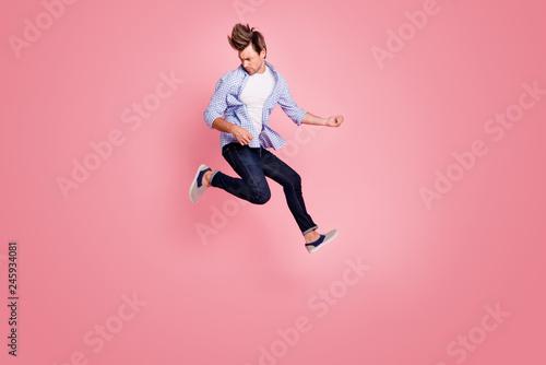 Fotografía  Full length body size photo of jumping high crazy he his him macho playing imagi