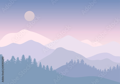 Aluminium Prints Dark grey Abstract mountain forest on bright sky landscape with tree silhouettes. Vector illustration. Travel poster