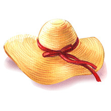 Yellow Straw Beach Sun Hat With Red Ribbon, Womens Summer Accessory, Isolated Object, Summer Vacation And Travel Symbol, Hand Drawn Watercolor Illustration On White Background