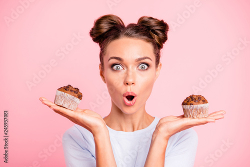 Close-up portrait of nice lovely cute attractive amazed scared afraid girl holdi Canvas Print