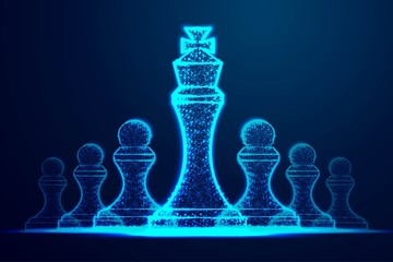 Leader success concept. queen chess figure as symbol of leadership. Successful challenge. Abstract wireframe design. From connecting dot and line. Vector Illustration