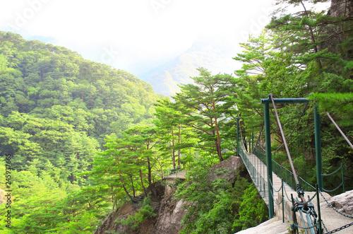 Deurstickers Asia land Suspension bridge, Kumgangsan mountains, North Korea