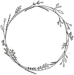 Ručno nacrtani crno-bijeli botanički vijenac. Jednobojni kreativni cvjetni okvir za čestitku, moderno ručno ispisano.