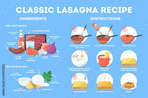 Fototapeta Delicious lasagna recipe for cooking at home obraz