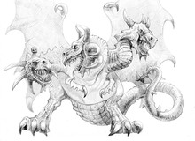 Three-headed Dragon. Pencil Dr...