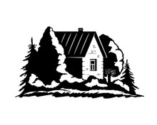 Country House Among Trees Sign On White Background.
