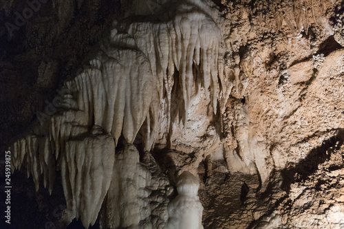Limestone formations inside a cave, Tuscany, Italy