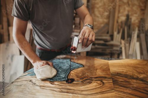Artisan Carpenter Working in his Workshop Canvas