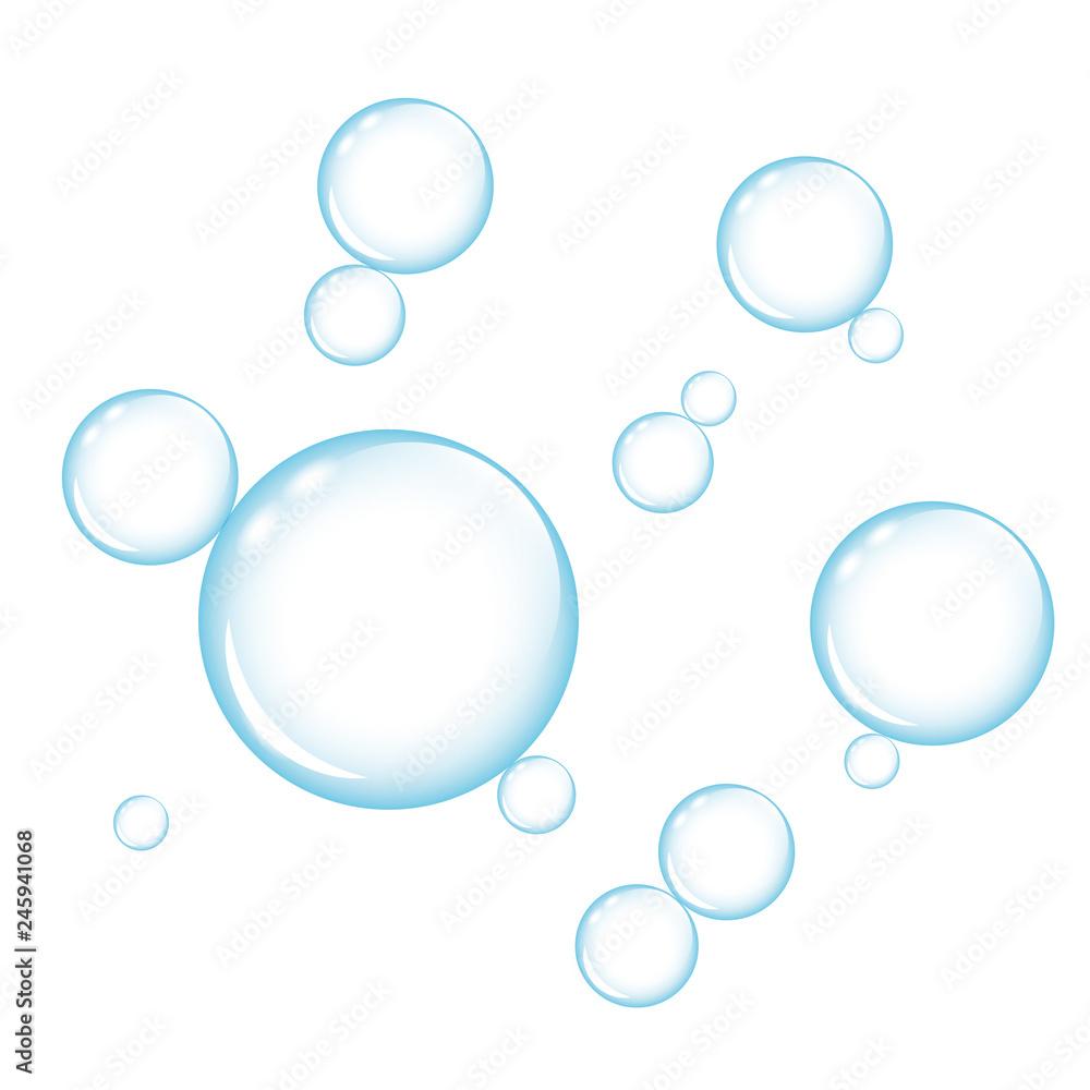 Fototapety, obrazy: blue transparency soap bubbles on white background vector illustration EPS10