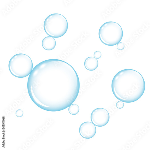 Fotomural  blue transparency soap bubbles on white background vector illustration EPS10