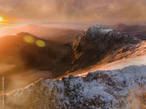 Canvas Print Snowdonia Aerial View at Sunrise