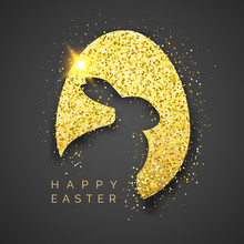 Easter Black Background With Realistic Golden Egg, Confetti, Bunny Silhouette And Text. Vector Illustration Greeting Card, Poster, Flyer, Banner