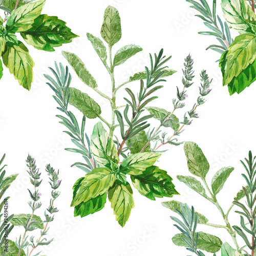 Photo  Watercolor seamless herbal pattern
