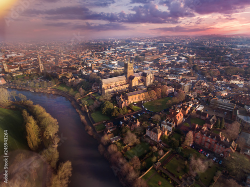 Foto auf Leinwand Schokobraun Worcester UK Aerial View at Sunrise, Worcestershire
