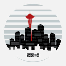 Seattle Silhouette Vector Round Label