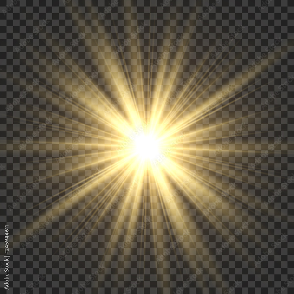 Fototapeta Realistic sun rays. Yellow sun ray glow abstract shine light effect starburst sbeam sunshine glowing isolated image