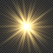 Realistic sun rays. Yellow sun ray glow abstract shine light effect starburst sbeam sunshine glowing isolated image