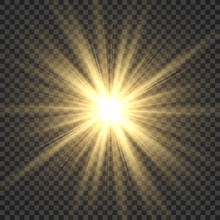 Realistic Sun Rays. Yellow Sun...