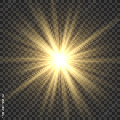 Fototapeta Realistic sun rays. Yellow sun ray glow abstract shine light effect starburst sbeam sunshine glowing isolated image obraz
