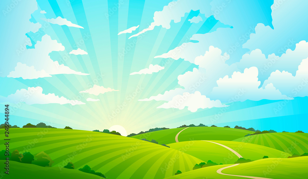 Fototapety, obrazy: Fields landscape. Scenic green hills nature sky horizon meadow grass field rural land agriculture grassland