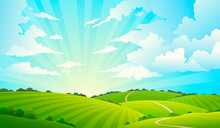 Fields Landscape. Scenic Green Hills Nature Sky Horizon Meadow Grass Field Rural Land Agriculture Grassland