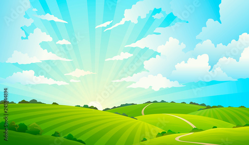 Photo Stands Light blue Fields landscape. Scenic green hills nature sky horizon meadow grass field rural land agriculture grassland