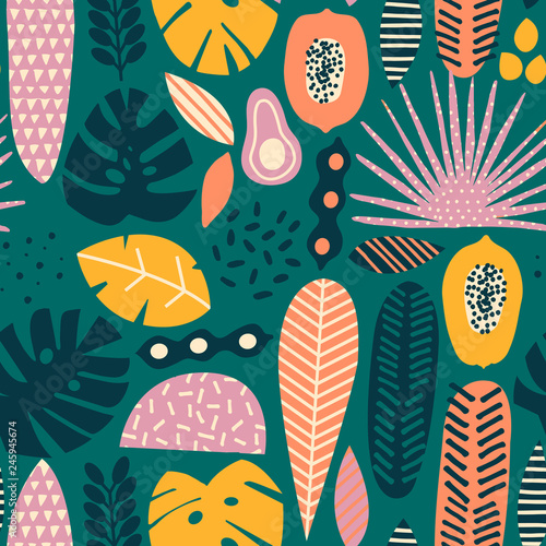 Modern exotic tropical fruits and plants seamless pattern in vector