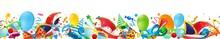 Banner Bordüre Mit Bunten Fasching Narren Accessoires, Konfetti Und Luftballons