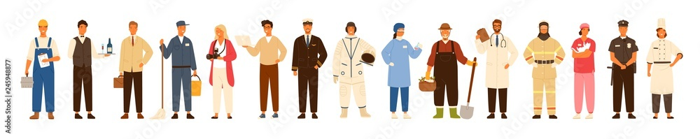 Fototapeta Collection of men and women of various occupations or profession wearing professional uniform - construction worker, farmer, physician, waiter, cleaner, astronaut. Flat cartoon vector illustration.