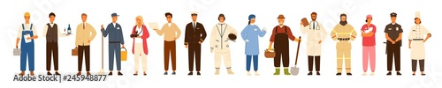 Obraz Collection of men and women of various occupations or profession wearing professional uniform - construction worker, farmer, physician, waiter, cleaner, astronaut. Flat cartoon vector illustration. - fototapety do salonu