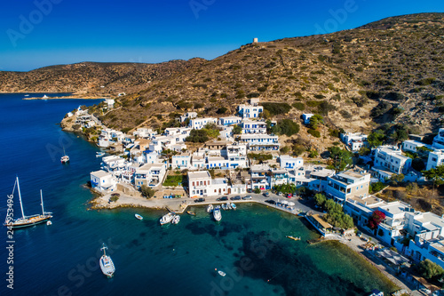 Aerial view of Katapola vilage, Amorgos island, Cyclades, Aegean, Greece Wallpaper Mural