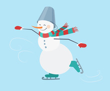 Skating. Snowman Wearing A Striped Scarf And A Bucket On His Head. New Year. Vector Illustration.