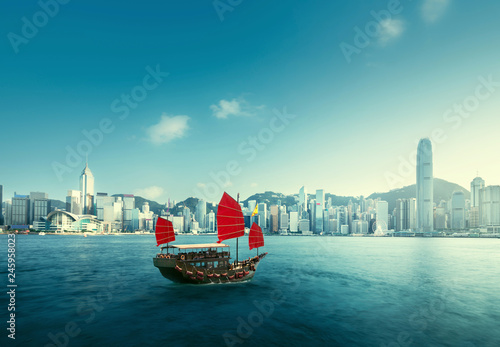 Canvas Prints Asian Famous Place Hong Kong harbour