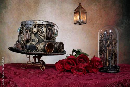 Fotografie, Obraz  Steampunk amore e   rose rosse