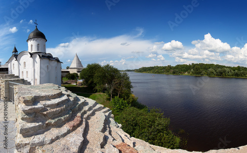 St. George church in Staraya Ladoga fort Fototapeta