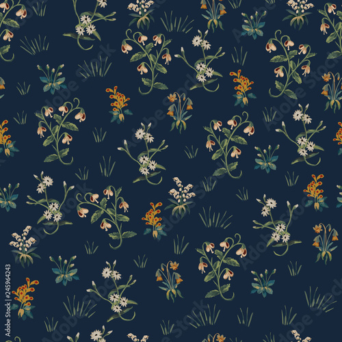 Floral wallpaper design, seamless pattern, background in medieval tapestries sty Canvas-taulu