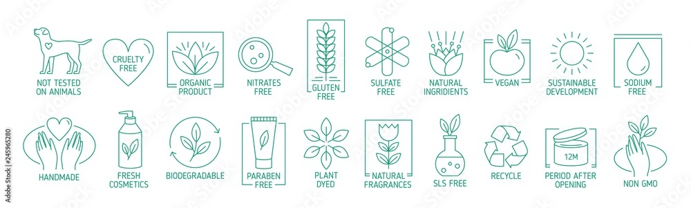 Fototapety, obrazy: Collection of linear symbols or badges for natural eco friendly handmade products, organic cosmetics, vegan and vegetarian food isolated on white background. Vector illustration in line art style.