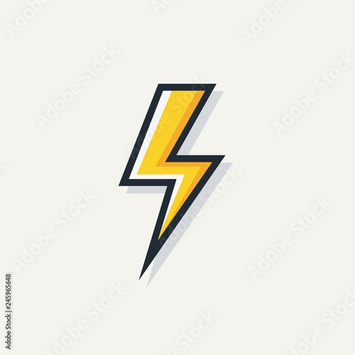 Garden Poster Cartoon cars Yellow electric lightning bold vector symbol isolated on white background for electric power logo, poster, t shirt. Thunder icon. Storm pictogram. Flash light sign. 10 eps